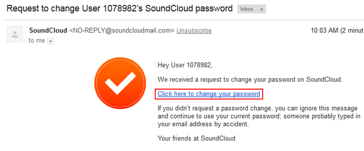 Link to change your SoundCloud password