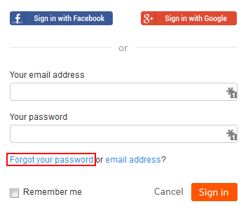 Forgot SoundCloud password button