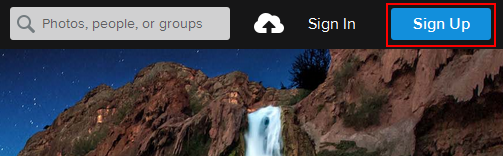Sign up for Flickr button