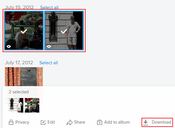 Selecting and downloading Flickr photos