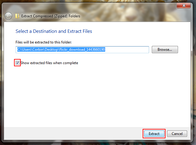Select location to extract downloaded Flickr photos