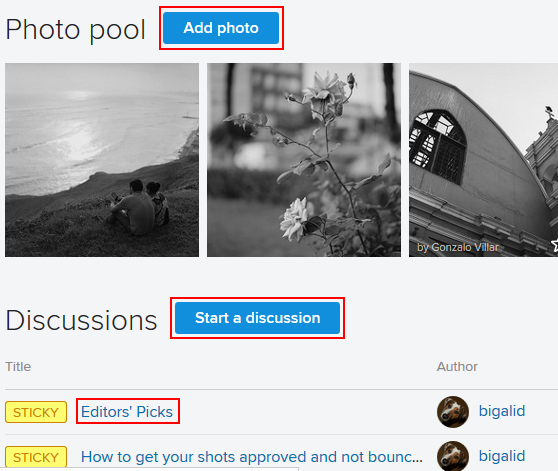 Adding a photo or discussion to a Flickr group