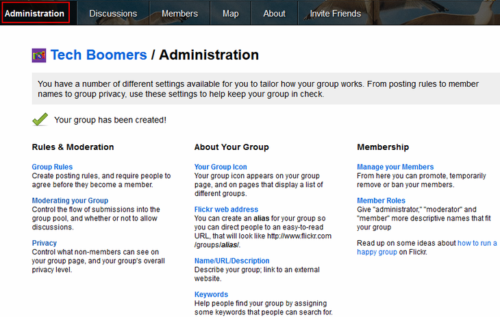 Administrator settings for Flickr group