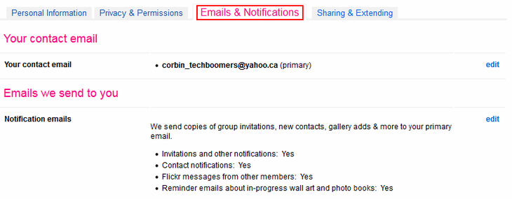 Flickr email and notification settings