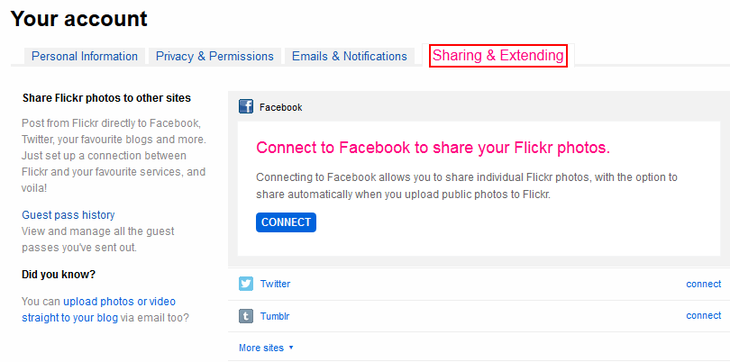 Flickr sharing and extending settings