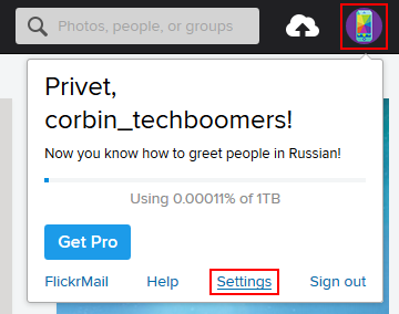 The Flickr settings function