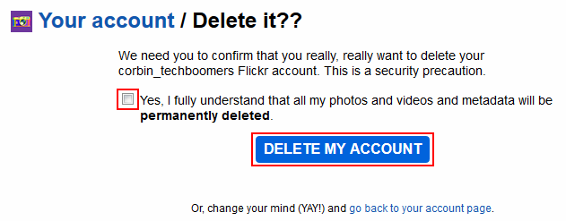 Confirm deletion of your Flickr account