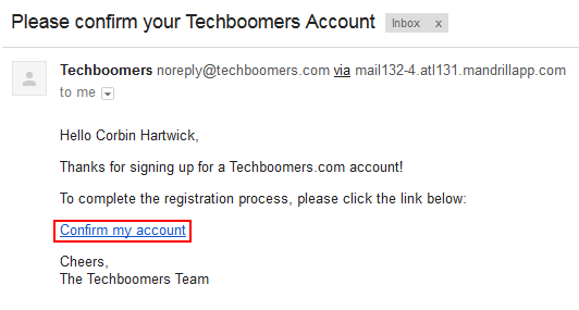 Confirm creation of your Techboomers account