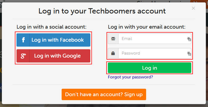 Techboomers log in options