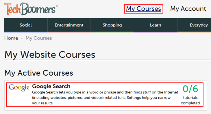 A list of your tracked courses on Techboomers