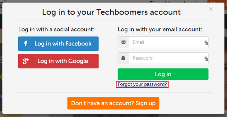 Forgot Techboomers password button
