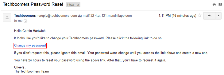 Link in email to reset Techboomers password