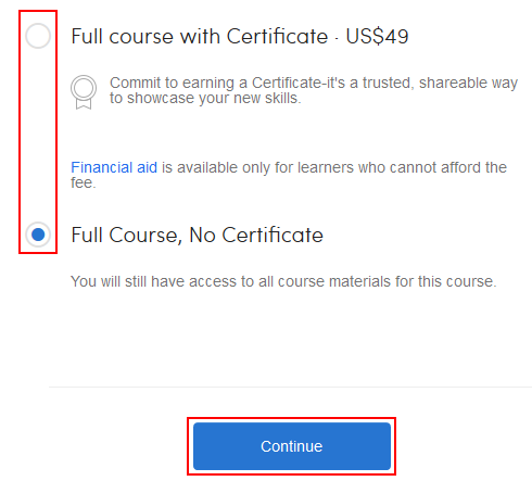 Option to take Coursera course for certificate