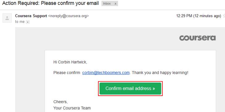 Verify Coursera account email