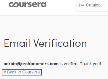 Coursera sign up confirmed