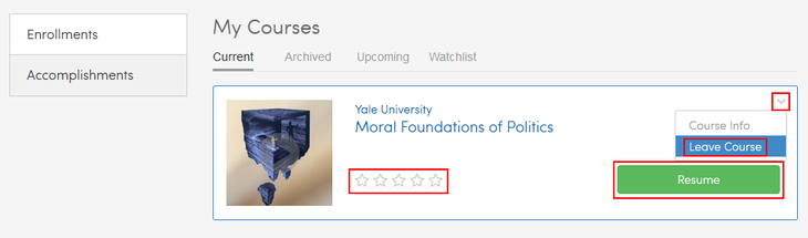 Continue, rate, or cancel a Coursera course