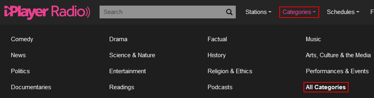 Browse BBC iPlayer Radio content categories