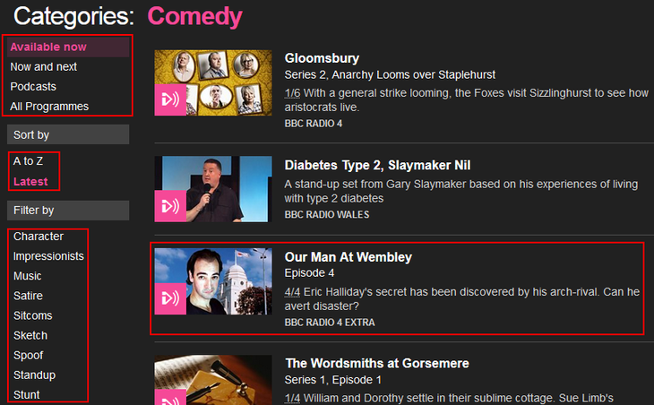Sort and filter BBC iPlayer Radio content category results