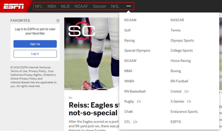 ESPN.com league sections directory