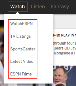 ESPN.com watching options