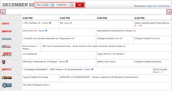 ESPN.com TV channel schedules