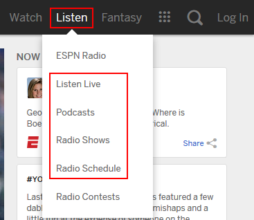 ESPN.com listening options