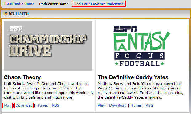 Listen to ESPN Radio podcasts