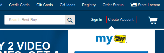 Button for creating a BestBuy.com account