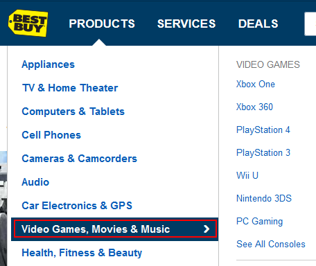 Selecting a BestBuy.com category to browse