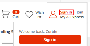 Signing into AliExpress