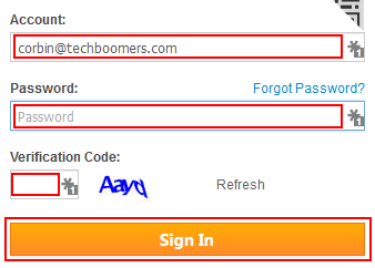 The AliExpress sign-in form