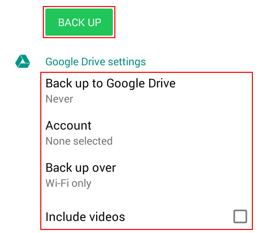 WhatsApp backup options