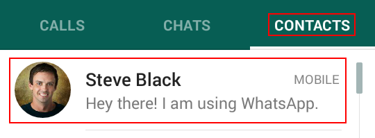 Starting a chat with a WhatsApp contact