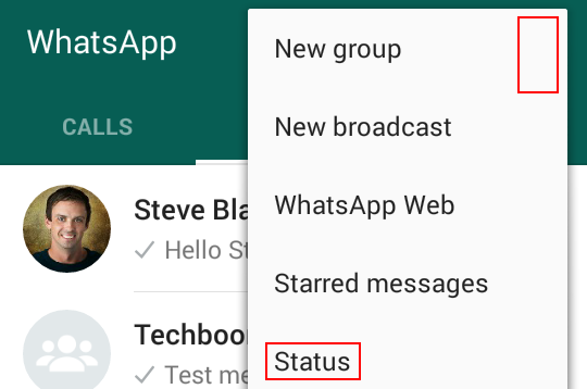 Viewing your WhatsApp status