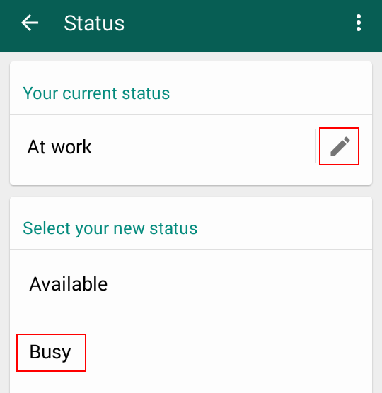 Selecting a new WhatsApp status