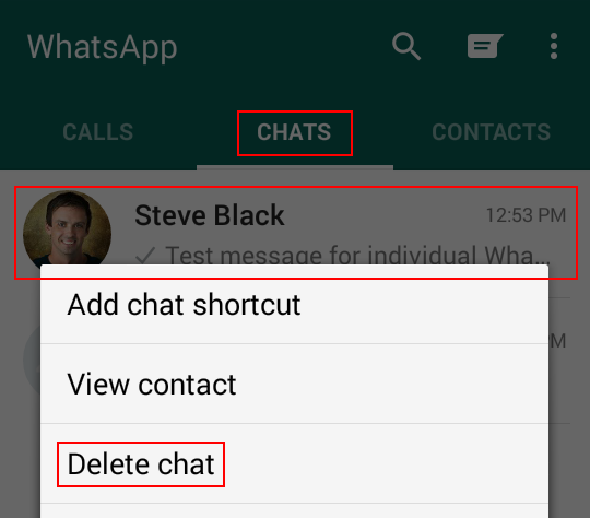 Deleting a WhatsApp chat
