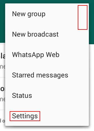 Access your WhatsApp settings