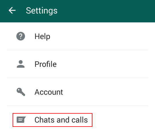 Access your WhatsApp chat and call settings