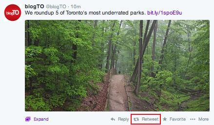 Button to retweet a Twitter post