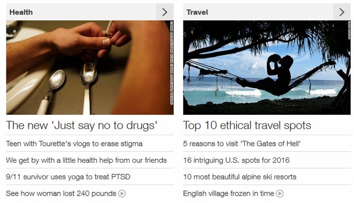 CNN.com news categories and stories
