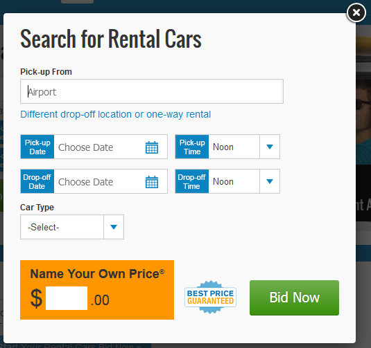 Naming your own price for a Priceline car rental