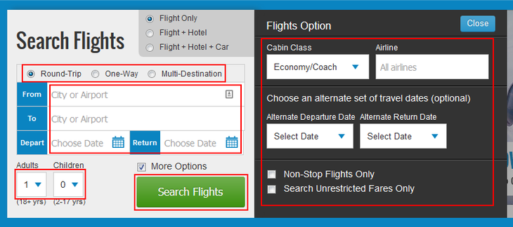 Search for a Priceline flight to book