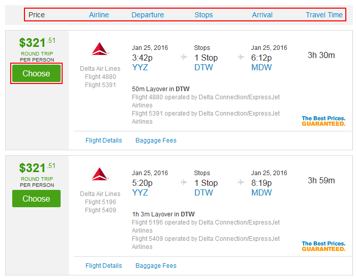 Sort and select Priceline flights
