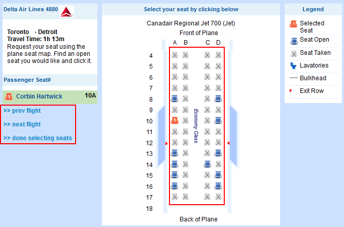 Select seats for Priceline flight