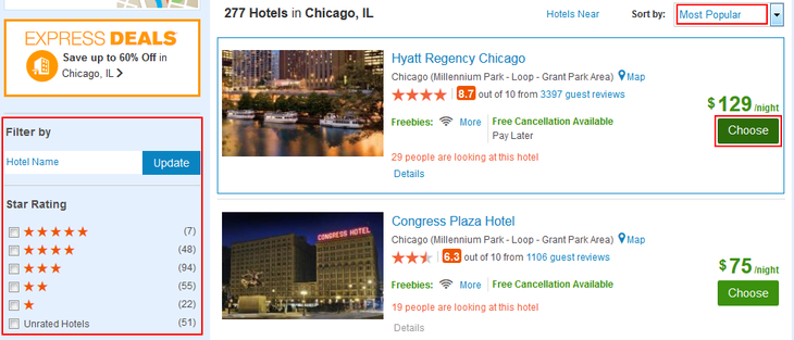 Selecting a Priceline hotel