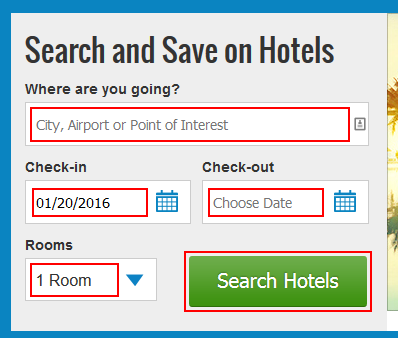 Searching for Priceline hotels