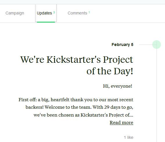 Update on a Kickstarter project