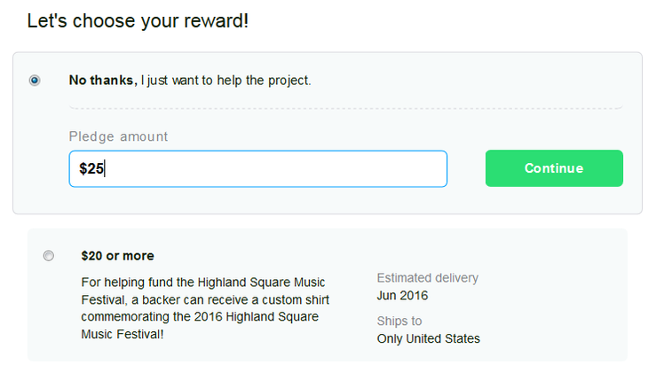 Choosing a reward for a Kickstarter pledge