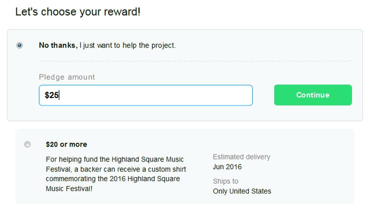 Choosing a reward for a Kickstarter pledge