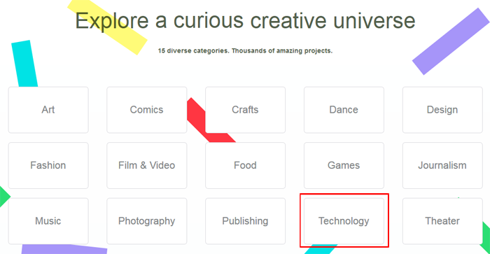 Select a Kickstarter project category